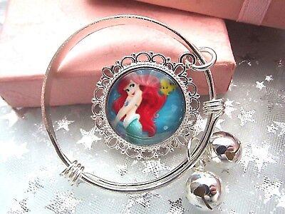 Princesse Ariel Petite Sirène Argent Bracelet Fit 2 ans Boîte Cadeau 3,4,5,6,7Y