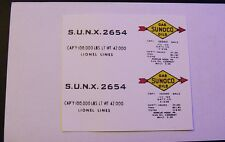 LIONEL SUNOCO S.U.N.X. 2654 TANK CAR CLEAR WATERSLIDE  2 DECAL PER SET LOOK!
