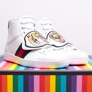 fe360c2bd GUCCI 970$ Ace High Top Sneakers In White Leather With Removable ...