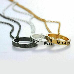 3x-Damen-BFF-Halskette-Kreis-Anhaenger-Damenkette-Ketten-Modeschmuck-Gesche-N8D6
