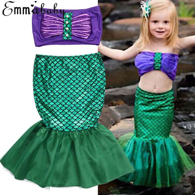 Mermaid Girls COS Costume Kids Dress Tail Swimsuit Swimwear Ariel Child Carnival