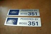 Ford Powered By Boss 351 Valve Cover Decals Pair Silver Blue 1971 Mustang