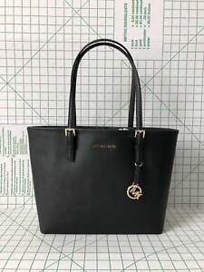 Michael-Kors-Jet-Set-Travel-Medium-Carry-All-Black-Saffiano-Leather-Tote