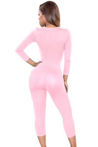 Abito lungo tuta aperto Nudo aderente Scollo Trasparente Jumpsuit clubwear L