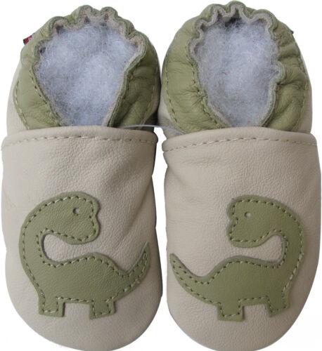 carozoo dinosaur cream 12-18m soft sole leather baby shoes