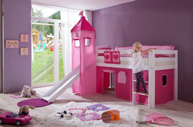 Etagenbett Spielbett Alex : Relita vorhangset für spielbett kim alex mit turm pink rosa