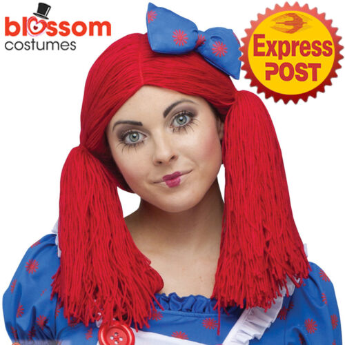 W500 Raggedy Ann Rag Doll Red Pigtail Womens Costume Wig Book Week Halloween