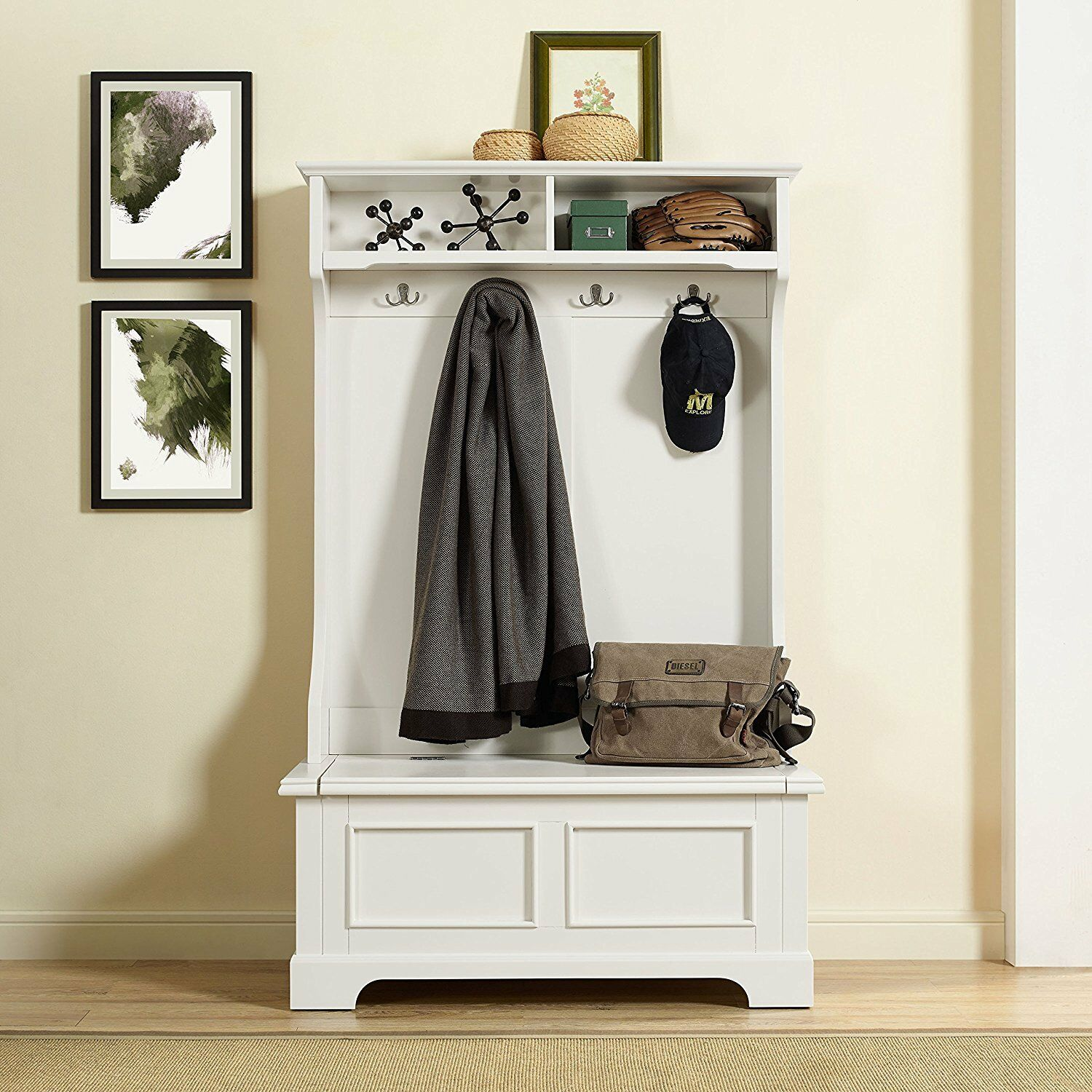 Crosley Furniture Campbell Hall Tree in White Finish, CF6005-WH New