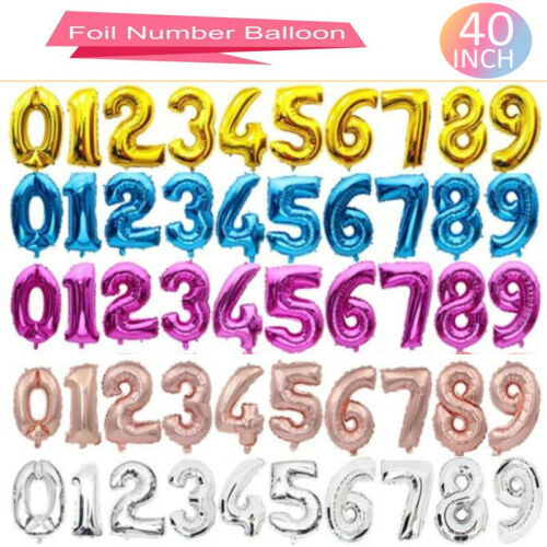 """Birthday Party 40"""" Giant NUMBERS 0-9 FOIL BALLOONS Self Inflating//Helium"""
