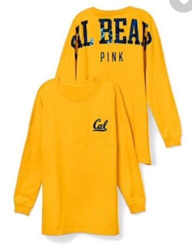Victoria Secret PINK Univ of Calif Berkeley MED Sequin Varsity Crew T-shirt