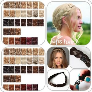 Stranded-Hair-Plait-Thick-Chunky-Braided-Hairpiece-Clipped-Headband-Hairband-New