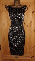 Black champagne gold satin pencil wiggle evening cocktail party dress size 12 14
