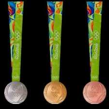 Rio 2016 Olympic Medals Set:Gold/ Silver/Bronze & Ribbons & Display Stands !!!