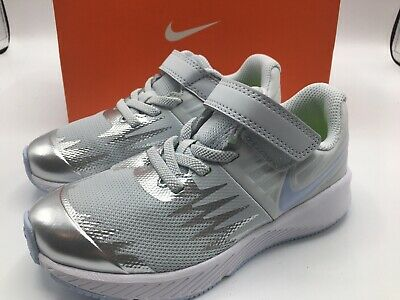 NIKE Star Runner Girls Size 1Y Running Shoes Pure Platinum New in Box 921442 003
