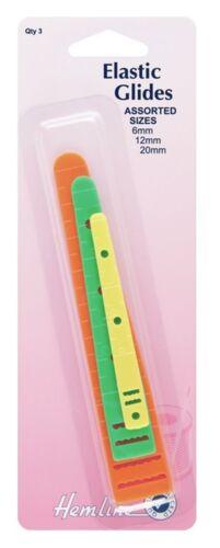 Dobladillo elástico se desliza guías Accesorio Herramienta Surtido 3 paquete 6mm 12mm 20mm H243