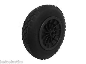 """PU 14"""" BLACK Puncture Proof Solid wheelbarrow wheel tyre 3.50-8 with 35MM BORE"""