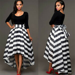 2-Piece-Off-Shoulder-stripe-Evening-Formal-Dresses-High-Low-Party-Prom-Gowns