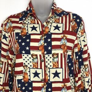 Dions Of Texas Red White Blue Stars Stripes Top Sz XS  Patriotic Cowgirl Rayon