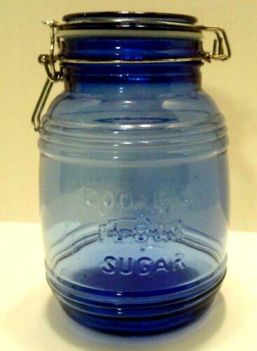 CRACKER BARREL JAR BLUE COBALT GLASS1-1//2 QUARTS