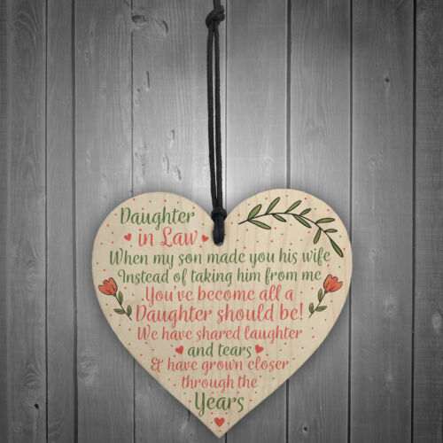 Daughter In Law Birthday Christmas GIFTS Wooden Heart Plaque Mum Daughter Son