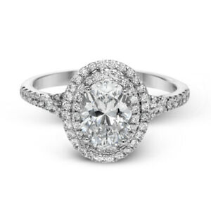 1.40 Ct Oval Cut Moissanite Engagement Wedding Ring 18K Real White Gold Size 9
