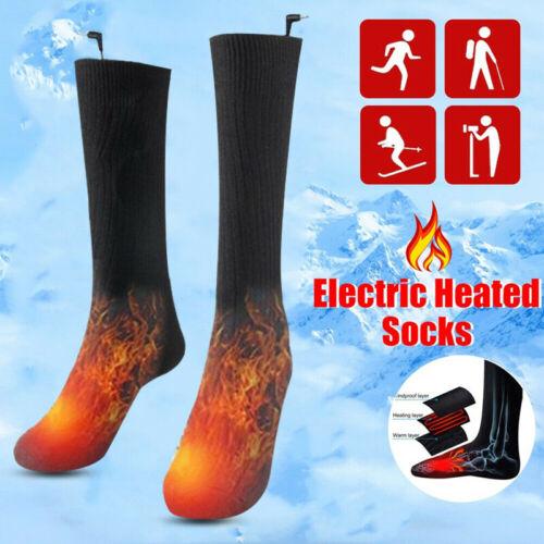 Black Electric Heated Hot Boot Socks Feet Foot Warmer Long Cotton Socks UK