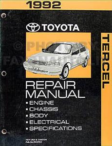 1992 toyota tercel original repair shop manual 92 oem ebay rh ebay com 1992 toyota camry repair manual free download 1992 toyota camry owners manual