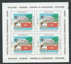 1983 ITALIA FOGLIETTO ERINNOFILO FIERA DEL FRANCOBOLLO RICCIONE | eBay