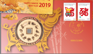 2019 Year of the Pig Medallion /& Stamp Cover PNC