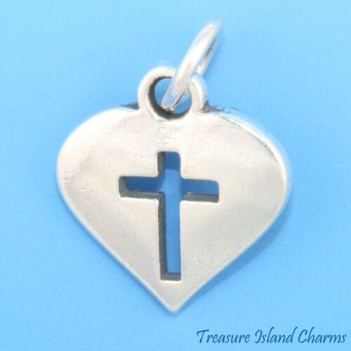 Coeur avec découpe croix chrétienne .925 Solid Sterling Silver Charm Pendentif