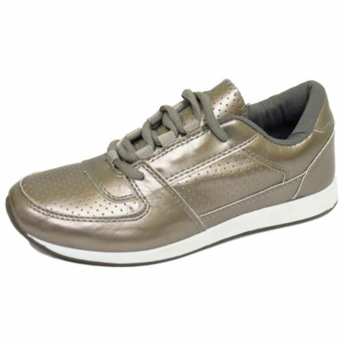 LADIES GIRLS SILVER CASUAL GYM SPORTS RUNNING JOGGING TRAINERS SHOES SIZES 3-8