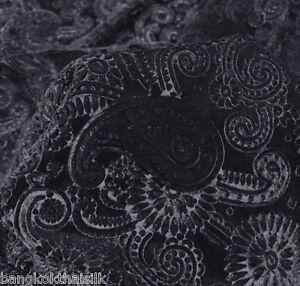 Image Is Loading BLACK PAISLEY FLORAL 3D EMBOSSED VELVET 60 034