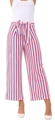 Femme Crinkle à Rayures Ceinture Extensible Évasé Large Jambe Palazzo Pantalon Pantalon