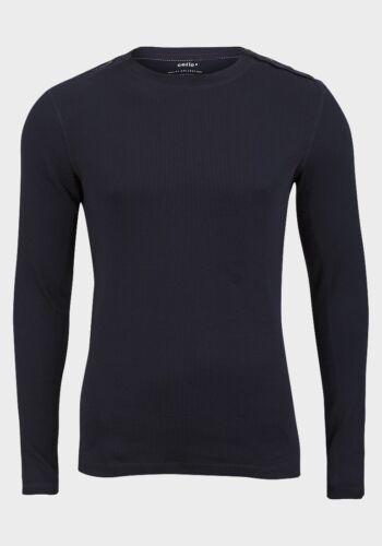 Da Uomo Bianco o Blu Cellio Bottone Sulla Spalla Manica Lunga a Costine Top//T-shirt