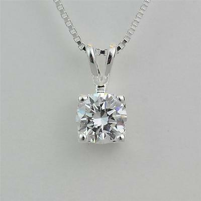 STERLING SILVER SOLITAIRE CZ PENDANT NECKLACE 6MM