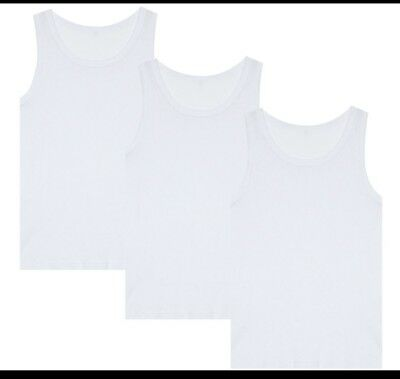 3 IN A PACK BOYS WHITE VESTS 2-13 YEARS 100/% COTTON EVERYDAY WEAR