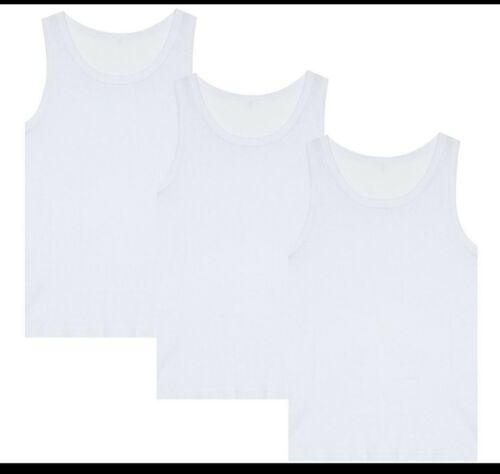 1,2,3 Pack Kids Boys Girls vests White Vest Cotton Summer Tank Top School Wear