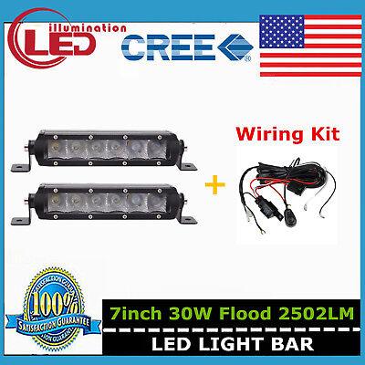 "Wiring Kit 2X 7/""inch 30W Single Row Led Light Bar Slim Spot Offroad Bumper 4WD"