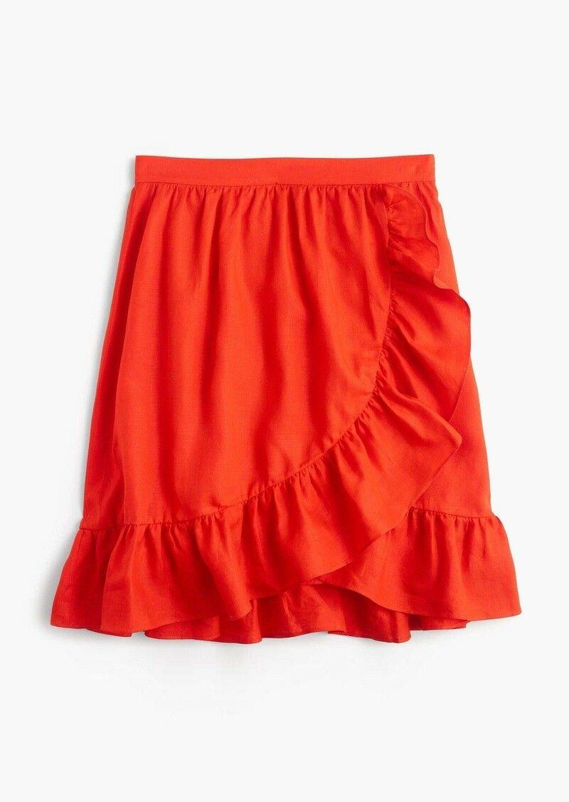 NEW J Crew orange Linen Ruffle Skirt Size 10