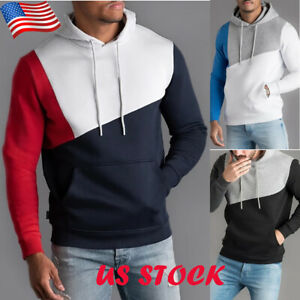 Men-039-s-Hoodies-Sweatshirt-Sweater-Pocket-Top-Jacket-Warm-Pullover-Coat-Outwear-US