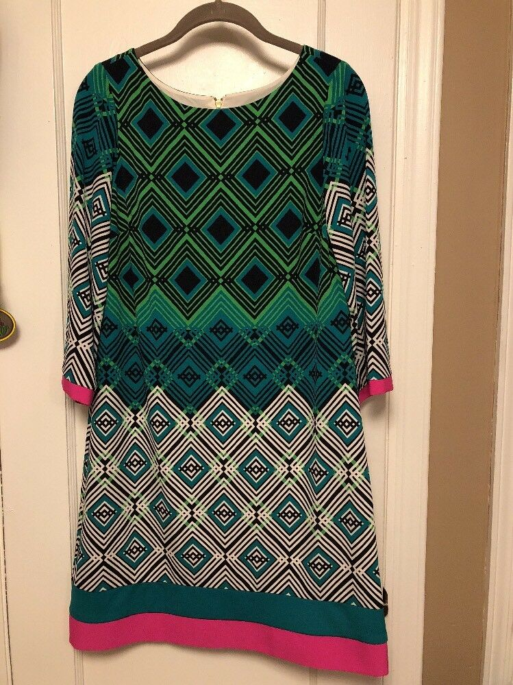 Eliza J  Shift Dress Size 8 Spring Green MULTI COLOR 3 4 SLEEVE EUC