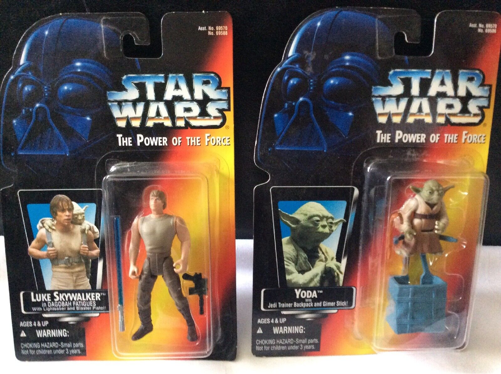 2 1995 Stern Wars Power Of The Force Figures Yoda And Luke In Jedi Training