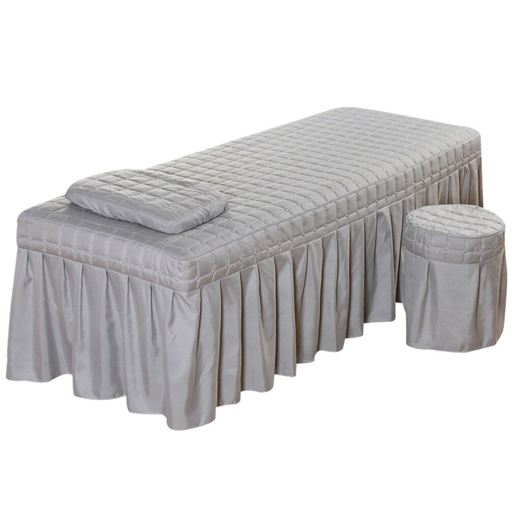 Massage Table Skirt Sheet Pillowcase Stool Cover Beauty Linen 75x28  Grey
