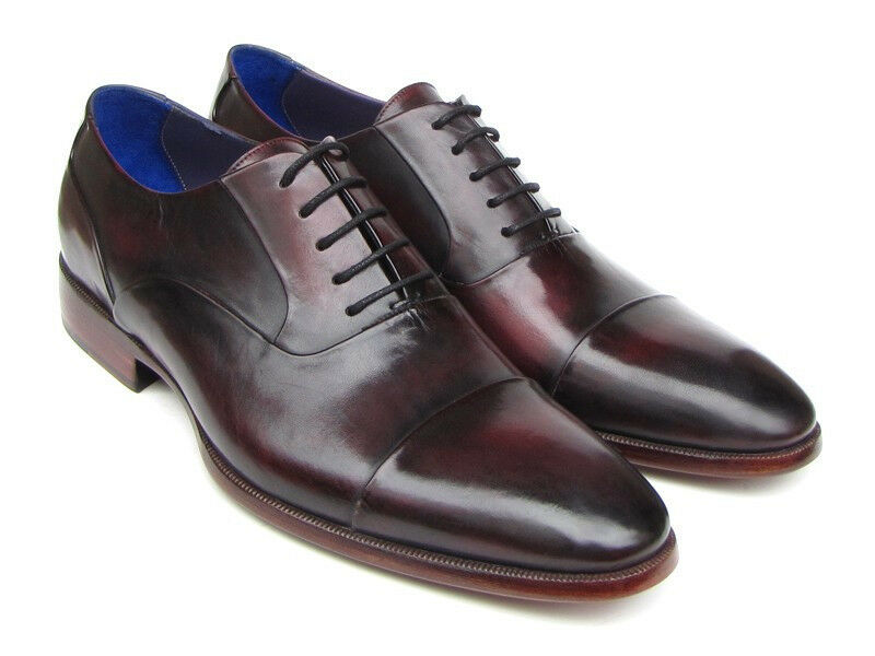 PAUL PARKMAN Homme Captoe Derbies Noir Violet Chaussures (ID 074 - Pamplemousse-BLK)
