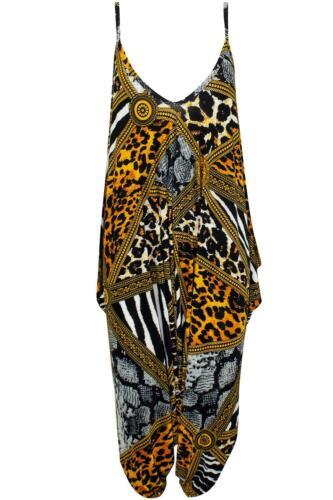 Womens Ladies Floral Print Andy Pandy Playsuit Lagenlook Baggy Harem Jumpsuit