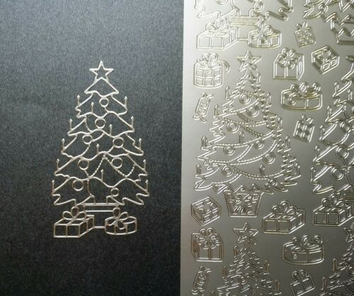 Weihnachten Silber Nr Tannenbaum Stickerbogen 8526