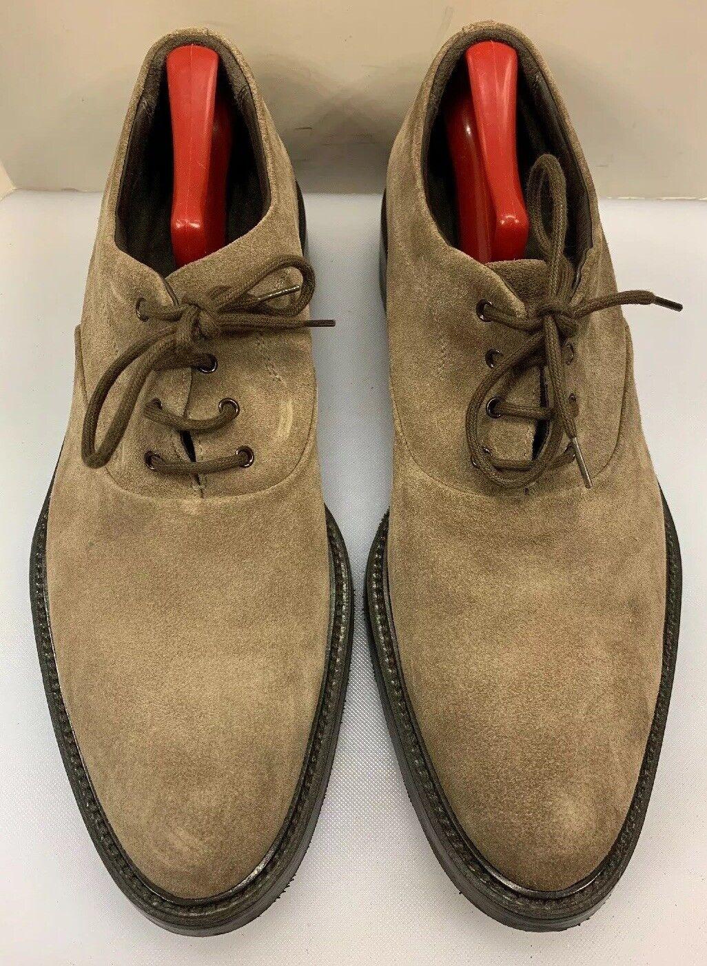 Giorgio Armani Men 11.5 US 44.5 EU Plain Toe Oxfords shoes Brown Suede  Made