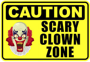 """Clown Stickers Funny Warning Sign Door Stickers Wall Decals 4/"""" wide 2-pack WS413"""