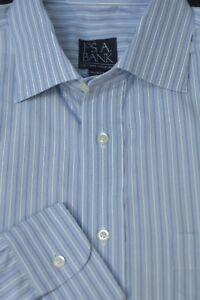 Jos-A-Bank-Men-039-s-Executive-Light-Blue-amp-White-Stripe-Cotton-Dress-Shirt-16-x-33