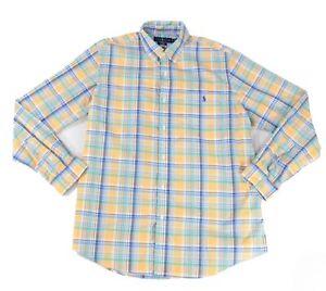 Ralph-Lauren-Mens-Shirt-Blue-Size-XL-Plaid-Print-Stretch-Button-Down-89-073